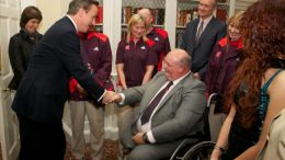 The Prime Minister, David Cameron, congratulates Steve Tarrant at 10 Downing Street for all his outstanding efforts as a Games Maker during the Olympic and Paralympic Games