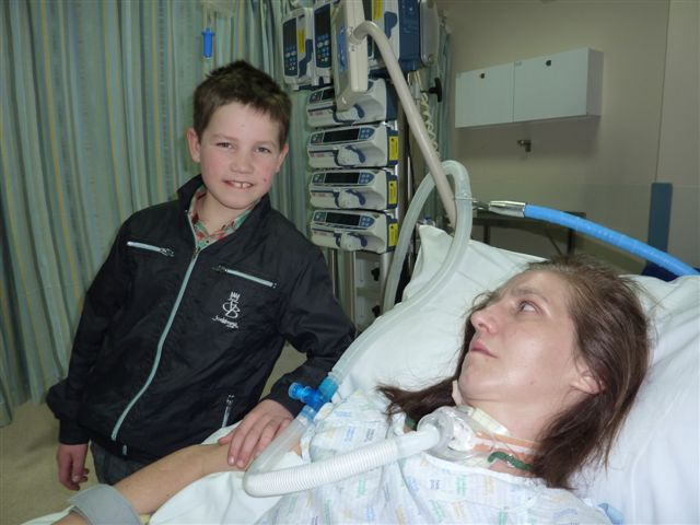 Kate in hospital following her stroke