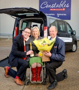 Constables Mobility - competition winners Ollie and Paul Barber from Eastbourne being presented with their prize at the factory near Golden Cross.Contact Jenny or Suzi 01435 830031