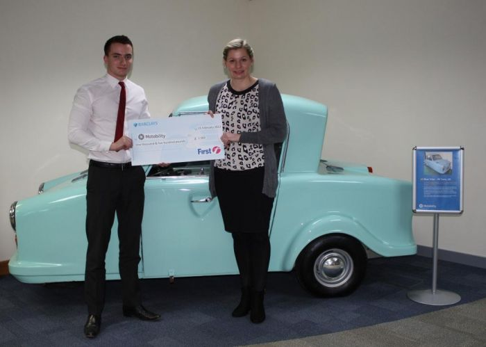 Cheque presentation with Andrew Wheeler from First Group and Lucy Lomas from Motability