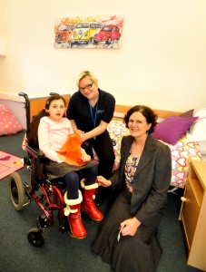 Daisy (10) the first child to use the new facility with Leanne Stone and Sue Hoxey