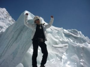 Hannah Oliver, who works at Merrington Grange, climbing Everest.