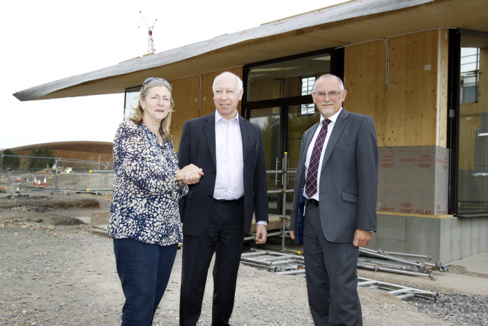 (L to R) Rosie Boycott (Mayor Of London's Food Advisor), Gerald Oppenheim (Chair of Camden Society) and Dennis Hone (LLDC Chief Executive) at the North Park Visitors Centre