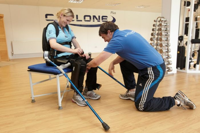 Claire Lomas testing the world's first ever personal exoskeleton device, the ReWalk, supplied by Cyclone technologies