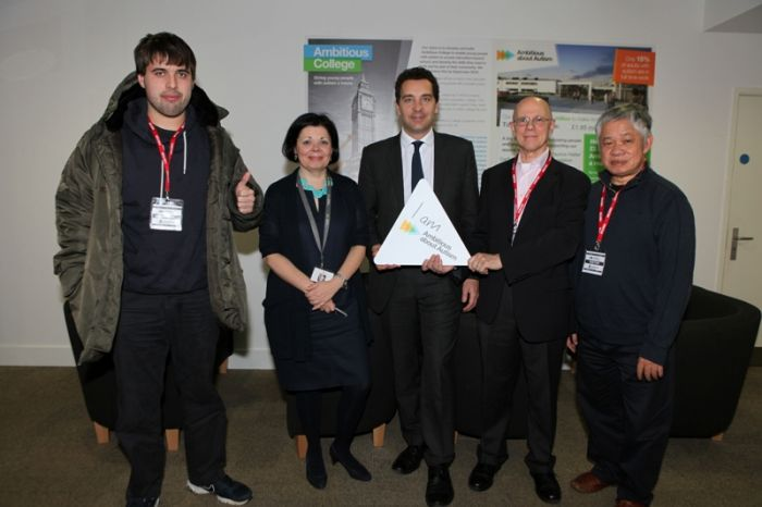 (from left to right): Cian Binchy, Ambitious about Autism's Youth Patron; Jolanta Lasota, Chief Executive of Ambitious about Autism; Children's Minister Edward Timpson MP; Martin Hewitt, parent of a pupil supported by Ambitious Support; and Hong Thanh, parent of pupil supported by Ambitious Support.
