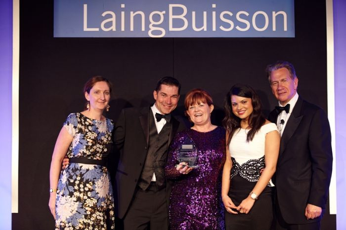 Wirral Autistic Society receives an Independent Specialist Care Award for its Step into Work Plus programme. From left, Eleanore Robinson, Editor of Community Care Market News at LaingBuisson, which sponsored the awards; Robin Bush, CEO of Wirral Autistic Society; Beverley Breen, Step into Work Plus programme manager; Hema Chandrashekhar, Step into Work Plus programme office and Michael Portillo, who presented the awards