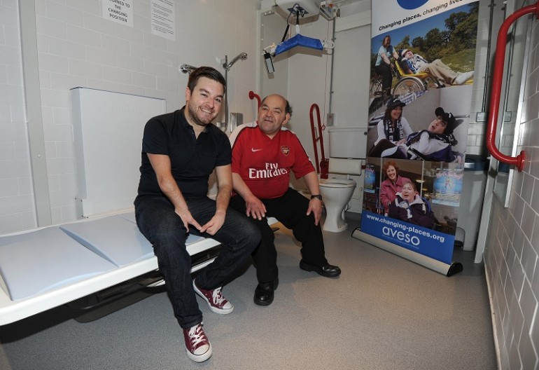 The New Disabled Toilet on Club Level is opened by Arsenal fan Leroy and Comedien Alex Brooker. Credit : Arsenal Football Club / David Price.
