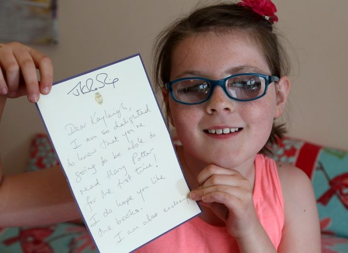 Kayleigh with a letter from JK Rowling (PIC BY STEWART TURKINGTON)
