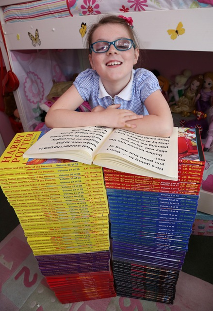 Kayleigh with her books (PIC BY STEWART TURKINGTON)