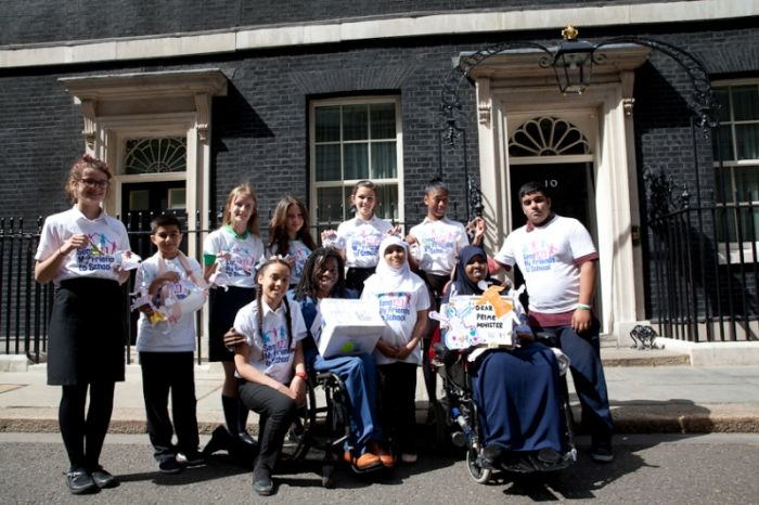 Ade and the campaigners outside Number 10 (PHOTO: Georgie Scott)