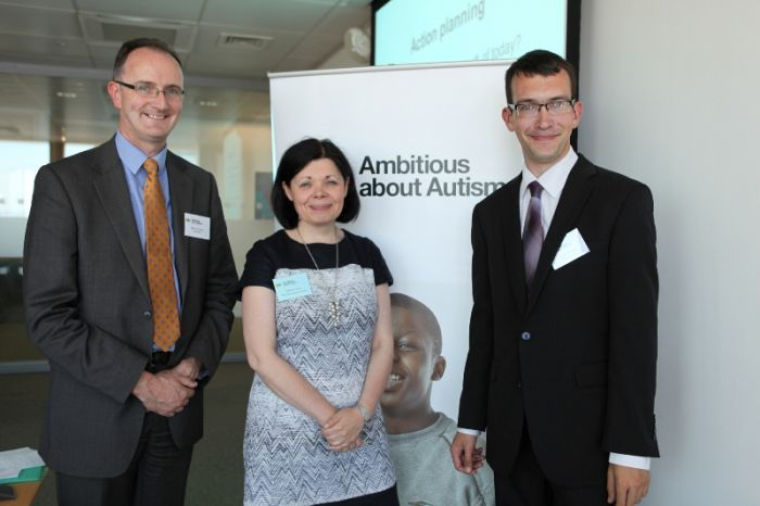 Picture (left – right): Mike Thompson (Head of Employability, Barclays), Jolanta Lasota (CEO Ambitious about Autism), David Nicholson (Youth Patron, Ambitious about Autism)