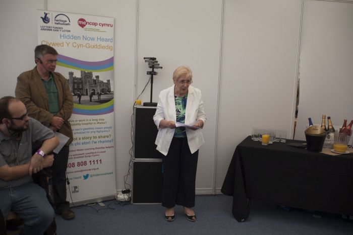 Gwenda Thomas, Deputy Minister for Social Services, speaking at yesterday's event