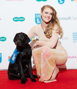 Classical crossover artist, Camilla Kerslake, with Guide Dog puppy Leo