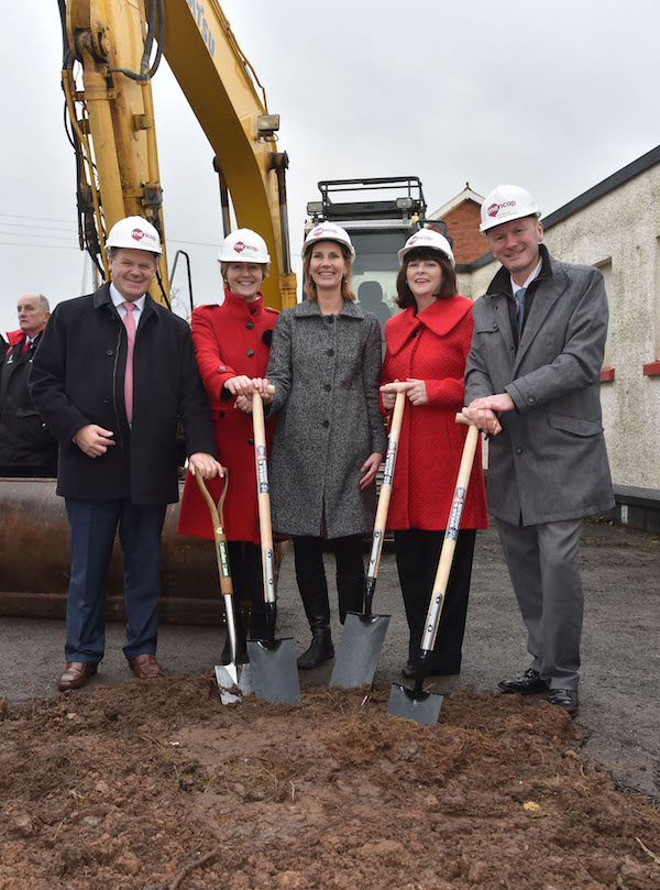 L-R: Brian Ambrose; chair of Mencap's Big Step Forward Appeal; Jan Tregelles, Mencap chief executive;Susan Kernachan, Head of Property at Mencap; Paschal McKeown, acting country director, Mencap in Northern Ireland and Alwyn Campbell, MD Mascott - all pictured at the site of Mencap's future  centre for children with a learning disability and their families in Belfast, Northern Ireland
