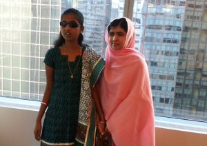 Leonard Cheshire Ashwini Angadi with Malala Yousafzai at the United Nations Headquarters in New York.