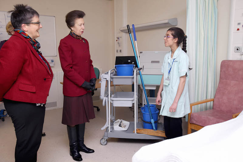 HRH, The Princess Royal's visit to Bradford Royal Infirmary, Bradford, West Yorkshire, on Thursday. She is pictured speaking to Aneesa, a project SEARCH graduate. (Picture:  Lorne Campbell  / Guzelian)