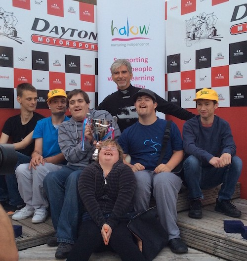 Damon Hill with young people from halow