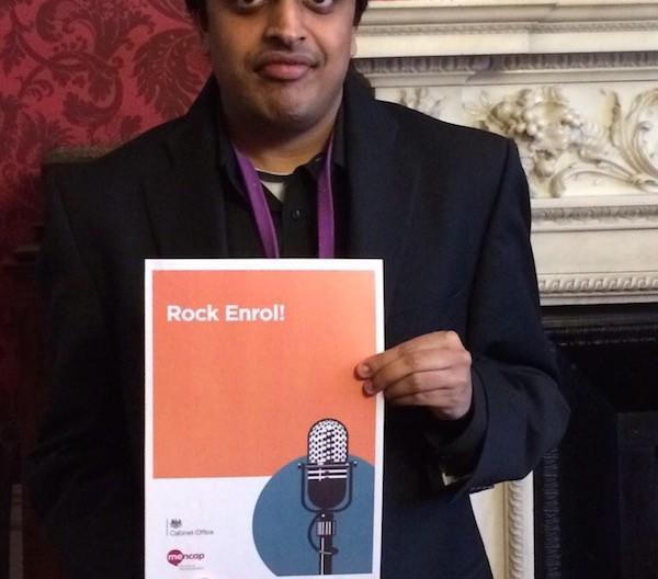 Vijay Patel, Mencap Ambassador with a learning disability who delivered the Rock Enrol! workshop
