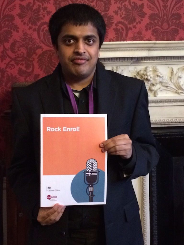 Vijay Patel, Mencap Ambassador with a learning disability who delivered the Rock Enrol! workshop