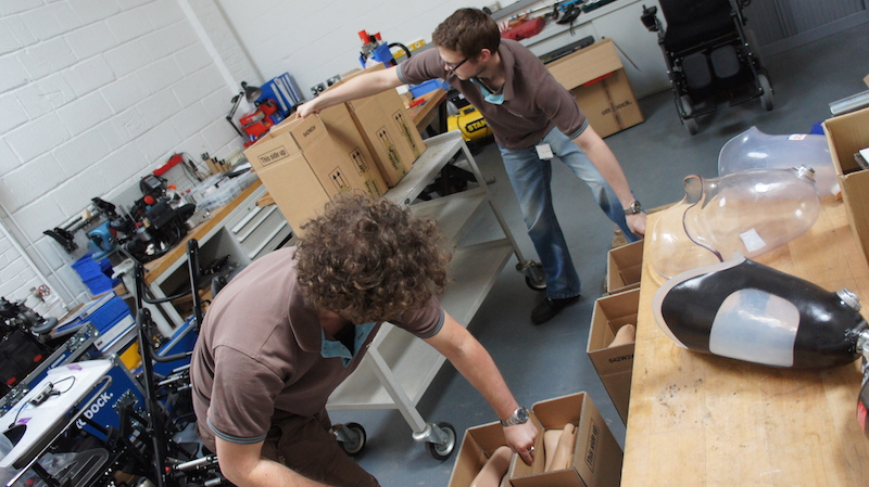 Leg4Africa collect two crates of donated prosthetic components from Ottobock UK
