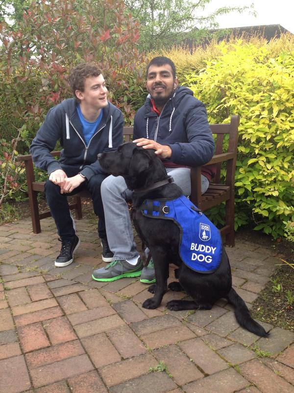 guide dog Mohsin Jalil with Josh the buddy dog from Guide Dogs