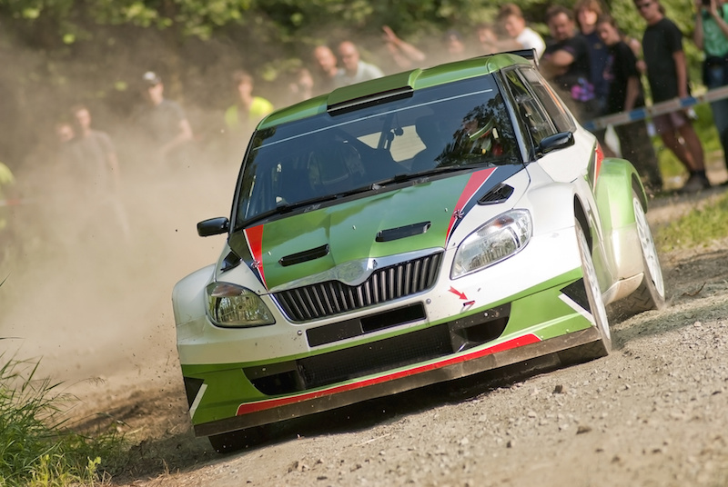 Rally car in action, koda Fabia S2000