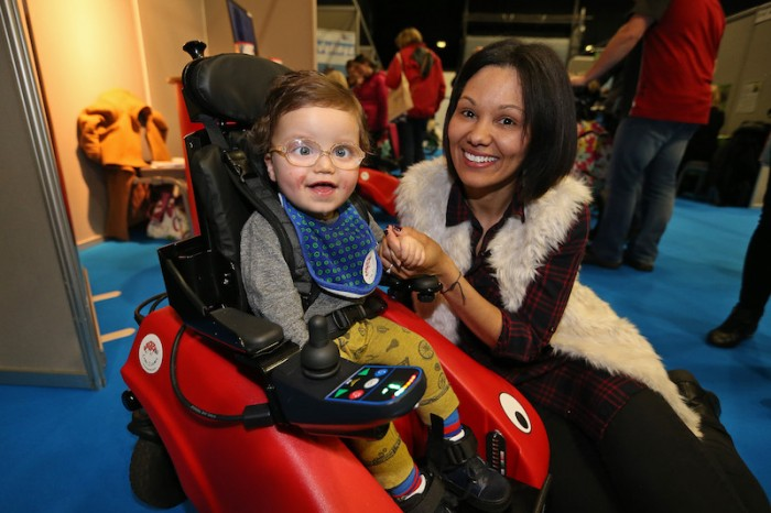 Kidz to Adultz in the Middle Exhibition by Disabled Living at the Ricoh Arena, Coventry... Pictured Leanne Gardener with her son 19 month old Dexter Jewers from Rugby