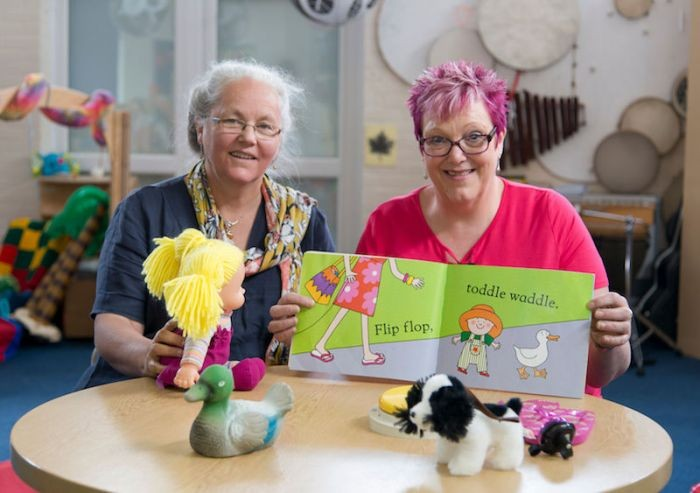 Children support workers Helen Potter and Anne Cheesbrough introduce play toolkits