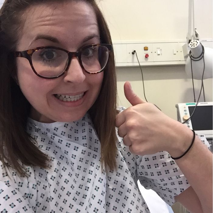 Looking surprisingly cheerful after one procedure
