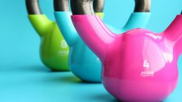 pink, blue and green dumbells
